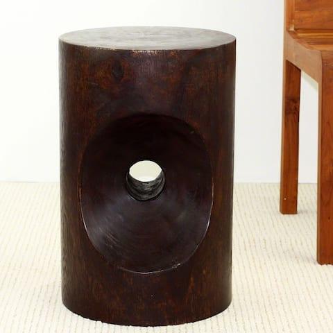 Haussmann Handmade Wood Peephole Stool End Table 13 in D x 20 in H Dark Walnut Oil