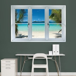 "Fathead Wall Decal, ""Virgin Islands Beach Scenic Window"" Wall Vinyl"