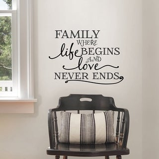 Wall Pops Family Where Life Begins Wall Quote, Black Wall Vinyl