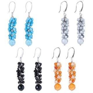 Sterling Silver Choice of Gemstone Dangle Drop Earring