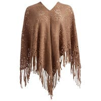 Hand Knit Shawl Triangle Scarf Fringes Falls and Cape for Women