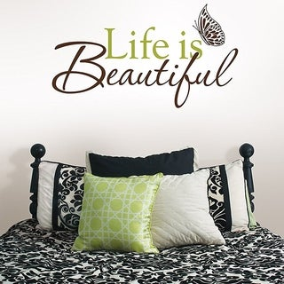 Wall Pops Peel & Stick Life is Beautiful Quotes Wall Decals 24.5 in x 13.5 in Wall Vinyl
