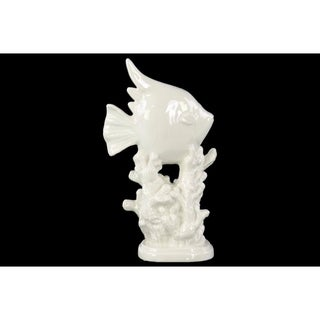Angelfish Sculpture on Coral Pedestal Gloss Finish White