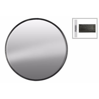 Embellish Round Wall Mirror Large- Gray- Benzara