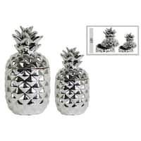 Enchanting Ceramic Pineapple Canister Set of Two- Silver