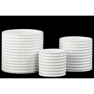 Serene Round Dimpled Flower Pot Set of Three - White- Benzara