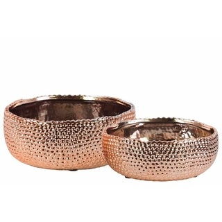 Ceramic Round Pot With Uneven Lip Set Of Two Dimpled- Cooper- Benzara