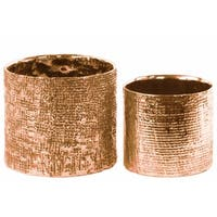 Crises Cross Patterned Tall Round Planter Set of 2- Copper