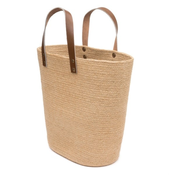 Handcrafted Jute Shopper Basket (India)