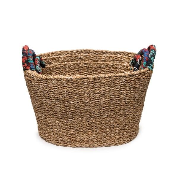 Handcrafted Tall Chindi Handle Baskets - Set of 3 Graduated (Bangladesh )