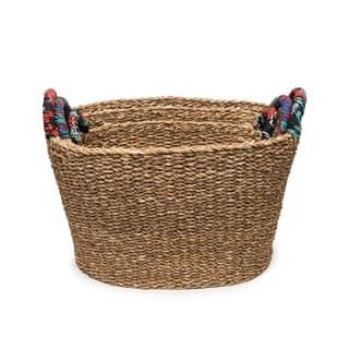 Handcrafted Tall Chindi Handle Baskets - Set of 3 Graduated (Bangladesh )|https://ak1.ostkcdn.com/images/products/17754299/P23954538.jpg?impolicy=medium