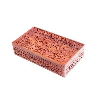 Handmade Indian Garden Rosewood Jewelry Box (India)