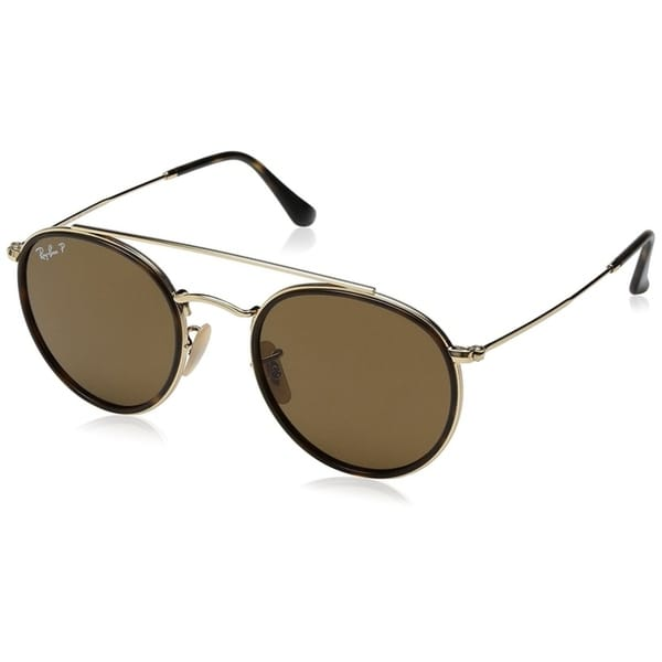 8311596a5202d Ray-Ban Unisex RB3647N Round Double Bridge Gold Frame Polarized Brown 51mm  Lens Sunglasses