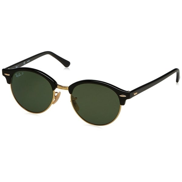 b02baf72922 Ray-Ban Unisex Clubround Classic RB4246 Black Gold Frame Polarized Green  51mm Lens Sunglasses