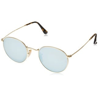 Ray-Ban Unisex RB3447N Round Gold Frame Silver Flash 50mm Lens Sunglasses