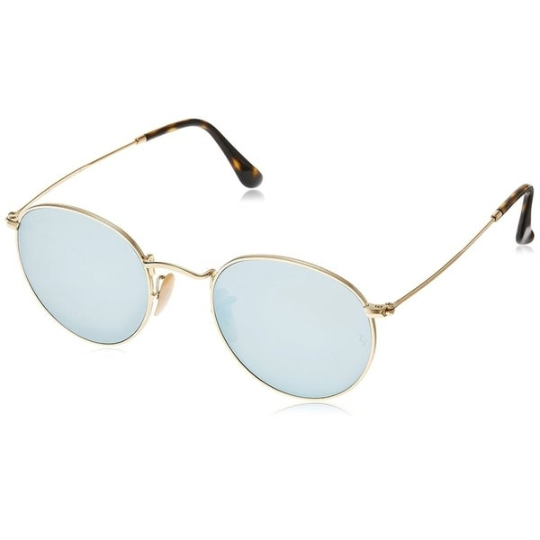 58efeb5a45041 Ray-Ban Unisex RB3447N Round Gold Frame Silver Flash 50mm Lens Sunglasses