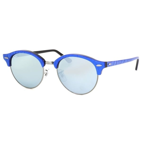 5910abc0c3 Ray-Ban Unisex RB4246 Clubround Classic Blue Frame Silver Flash 51mm Lens  Sunglasses