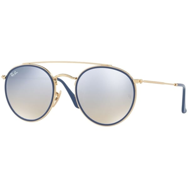 2384aba6c72 Ray-Ban Unisex RB3647N Round Double Bridge Gold Frame Silver Gradient Flash  51mm Lens Sunglasses