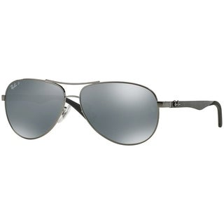 Ray-Ban Men's RB8313 Gunmetal Frame Polarized Silver Mirror 61mm Lens Sunglasses