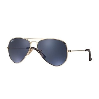 Ray-Ban Unisex RB3025 Aviator Gold Frame Blue/Grey Classic 58mm Lens Sunglasses