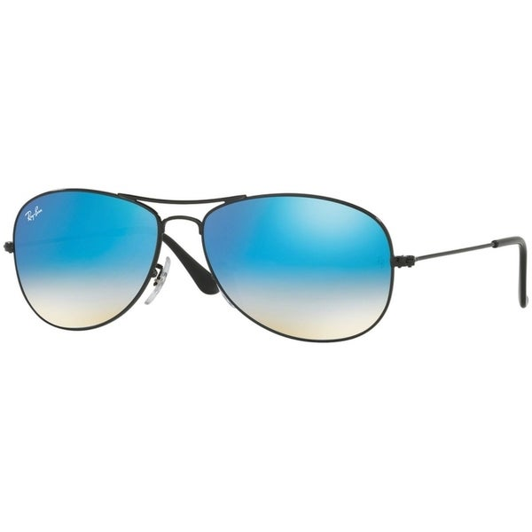 cd87a0ea2a Ray-Ban Unisex RB3362 Cockpit Black Frame Blue Gradient Flash 56mm Lens  Sunglasses
