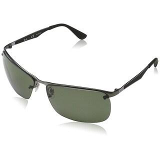 Ray-Ban Men's RB3550 Gunmetal Frame Polarized Green 64mm Lens Sunglasses