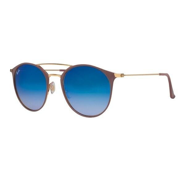 fbcf68e260 Ray-Ban Unisex RB3546 Light Brown Gold Frame Blue Gradient Flash 52mm Lens  Sunglasses