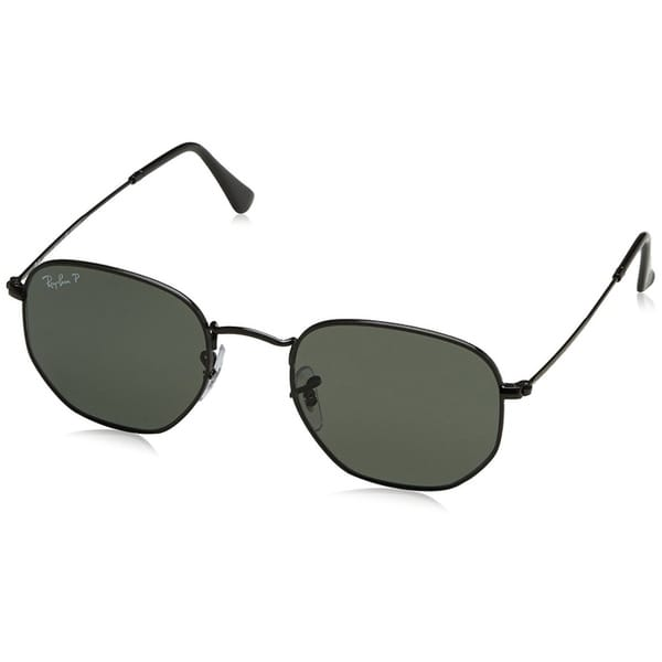 2366fab0f4b95 Ray-Ban Unisex RB3548N Hexagonal Black Frame Polarized Green 51mm Lens  Sunglasses