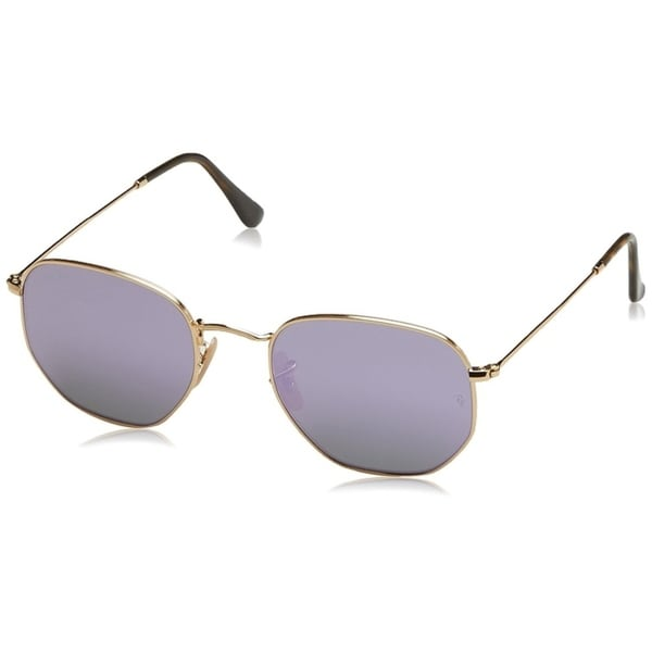 89993907f2c5d Ray-Ban Unisex RB3548N Hexagonal Gold Frame Lilac Mirror 54mm Lens  Sunglasses