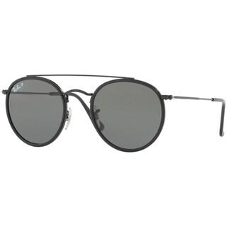 Ray-Ban Unisex RB3647N Round Double Bridge Black Frame Polarized Green 51mm Lens Sunglasses