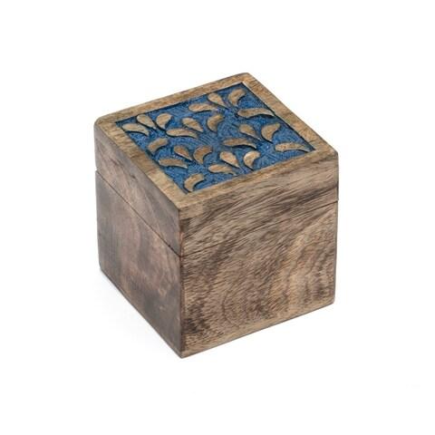 Handmade Holi Color Rub Wood Keepsake Box - Botanical (India)