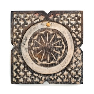 Handcrafted Antique Finish Wood Pivot Box - Square (India)