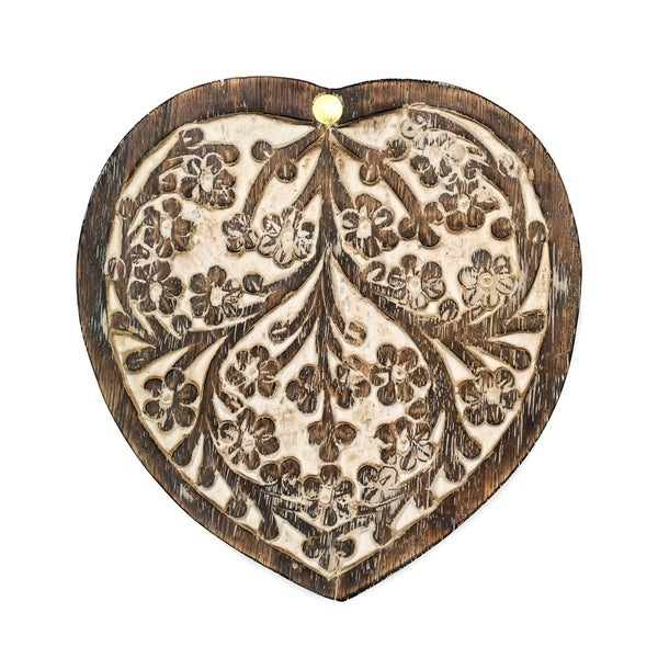 Handmade Antique Finish Wood Pivot Box - Heart (India) - N/A