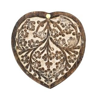 Handcrafted Antique Finish Wood Pivot Box - Heart (India)