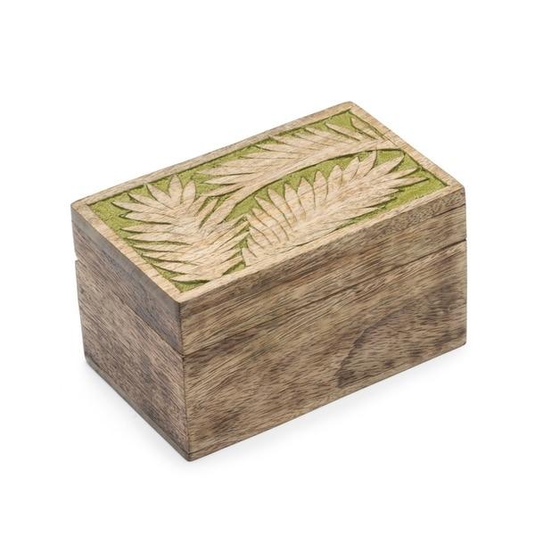 Handmade Holi Color Rub Wood Keepsake Box - Palm Leaf (India)