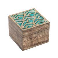Handmade Holi Color Rub Keepsake Box - Peacock (India)