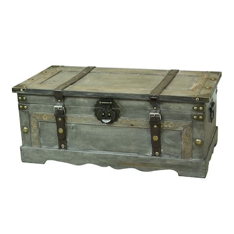 Rustic Gray Large Wooden Storage Trunk