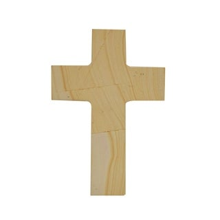 Polished Marble Decorative Cross Figurine, Traditional Style, Teak