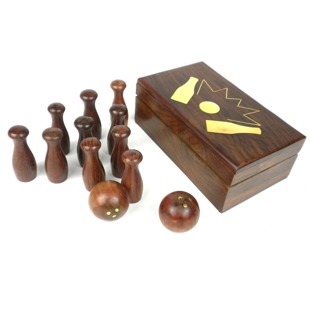 Global Crafts Handcrafted Retro Tabletop Bowling Game (In...
