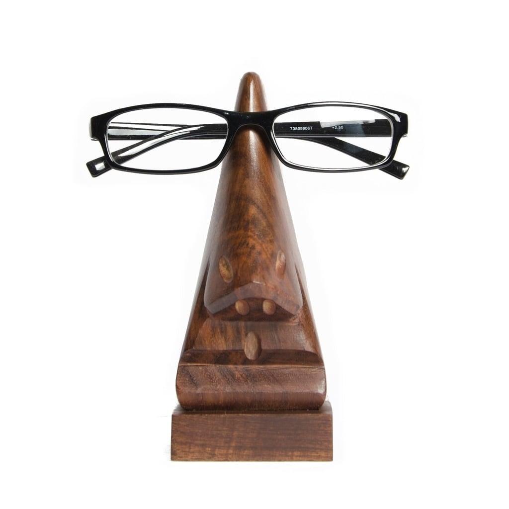 Global Crafts Handcarved Wood Nose Eyeglass Holder (India...