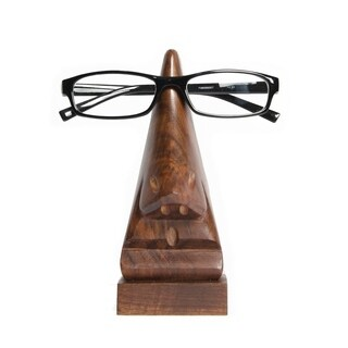 Handcarved Wood Nose Eyeglass Holder (India)