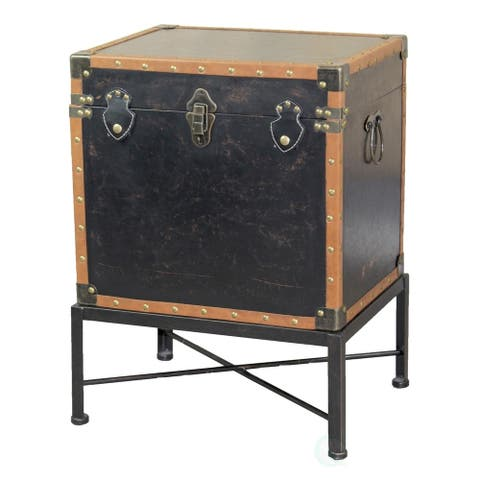 Faux Leather Trimmed Square Storage Trunk, End Table on Metal Stand