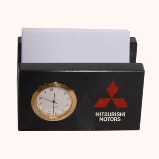 Polished Marble Memo / Card Holder with Clock For Office, Black Zebra