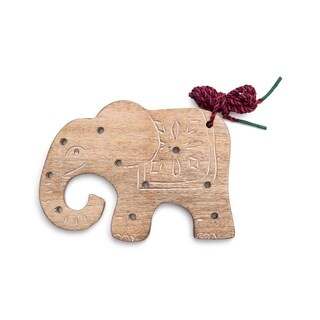 Handcrafted Wood Elephant Lacing Toy (India)
