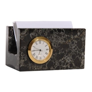 Polished Marble Memo / Card Holder with Clock For Office, Black