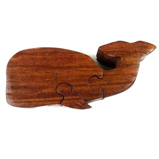Handcrafted Wood Whale Puzzle Box (India)