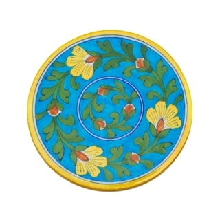 Handcrafted Blue Pottery Trivet - Turquoise (India)