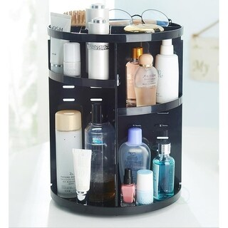Rotating Cosmetic Storage Tower, Makeup Organizer - Black