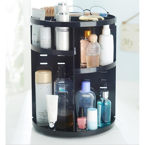 Rotating Cosmetic Storage Tower, Makeup Organizer - Black