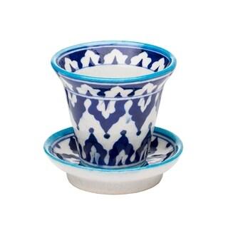 Handcrafted Pottery Planter - Indigo (India)
